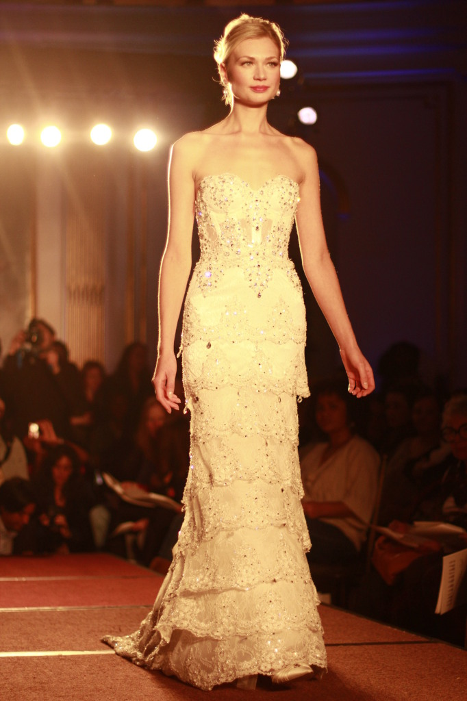 Pnina Tornai: Ivory strapless chantilly illusion lace jeweled bodice with jeweled tiered skirt