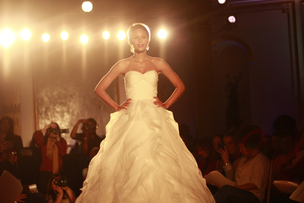 Alita Graham: Strapless organza ball gown with ruffled skirt organza and tulle