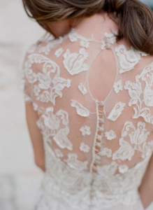 Sheer-Lace-and-Button-Wedding-Gown-Back-With-Keyhole